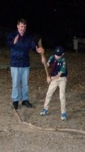 Adam chops wood