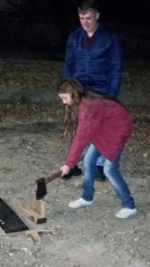 Ellie chops wood