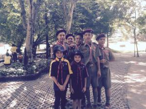 Jason and Nicole with Sankampang School Boy Scouts
